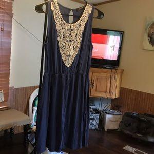 Dresses & Skirts - Navy/lace dress